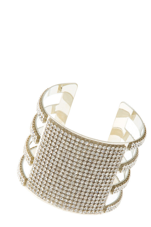 "7.50"" silver crystal paved bangle cuff bracelet stack 1.80"" wide"