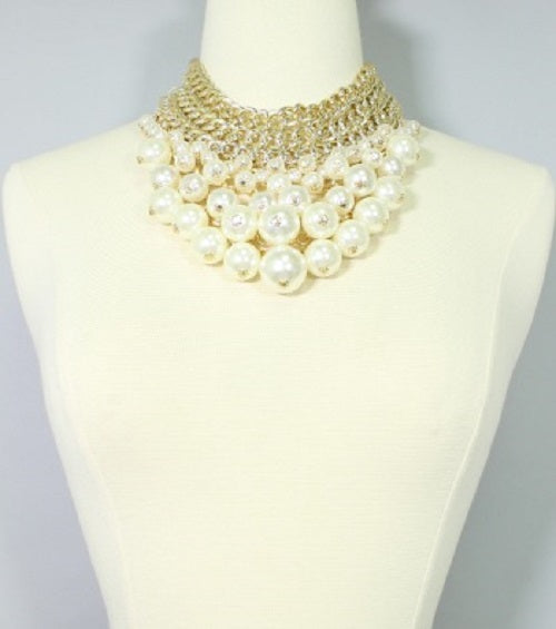 "15"" cream faux pearl bib choker necklace earrings chunky statement"
