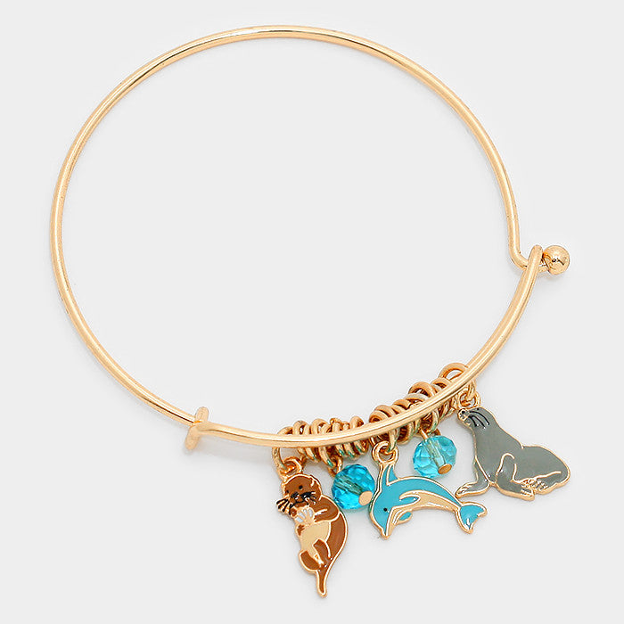"6.50"" gold enamel charm sea life dolphin natical  cuff bracelet stack"