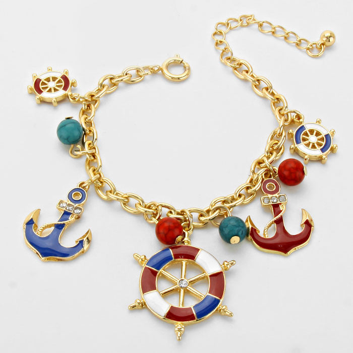 "9"" chain anchor nautical sea life charm bracelet bangle"