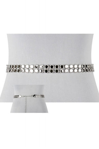 "25"" -  46"" waist silver alloy disc 2 row belt"