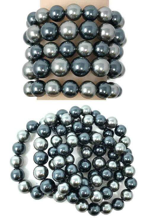 5 layer faux pearl stretch bracelet bangle arm candy
