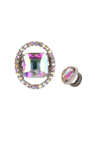 "1.20""  crystal stretch cocktail ring rhinestones"