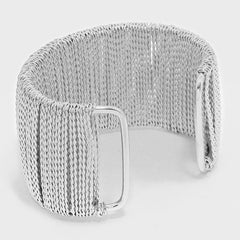 "1.70"" wide silver chain wrapped bracelet bangle cuff"