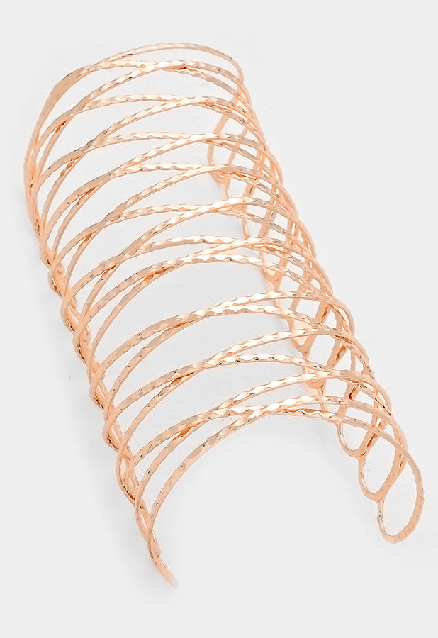 "6"" rose gold twisted cage cuff bracelet bangle"