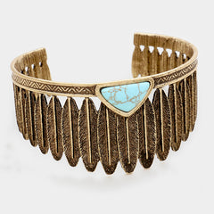 "1.40"" turquoise feather bracelet bangle cuff stack boho"