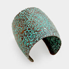 "7"" wide patina textured cuff bracelet bangle 2.50"" long"