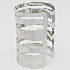 "3.50"" wide silver cage hammered cuff bracelet bangle 001"