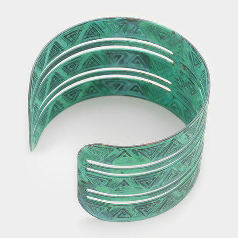 "1.75"" patina cage aztec bracelet bangle cuff"