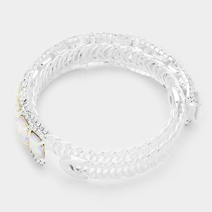 "silver ab crystal coil bracelet bridal prom pageant .75"" wide"