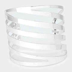 "2.25"" silver metal caged bracelet cuff bangle"