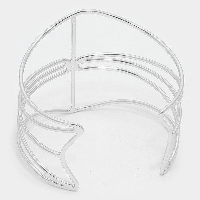 "2.50"" wide silver cage dangle bangles cuff bracelets stack"