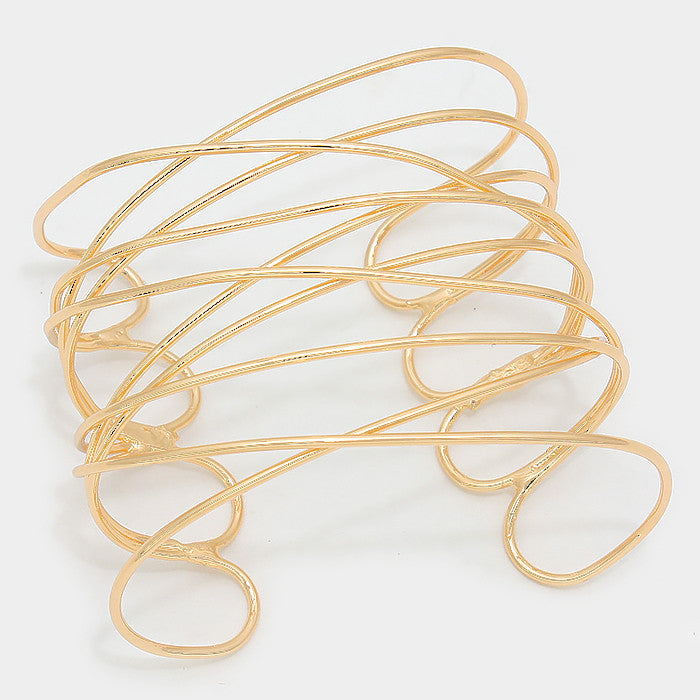"2.30"" gold twisted wire crossed cuff bracelet bangle upper arm"
