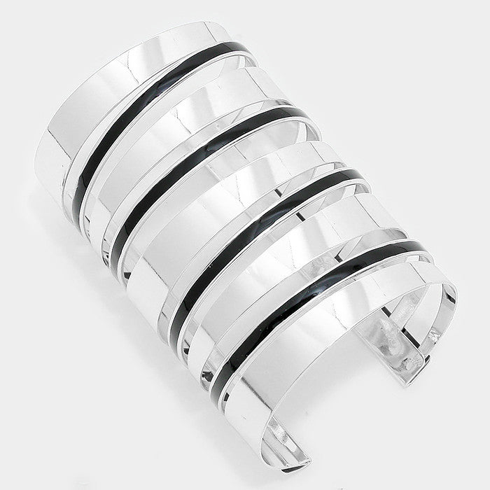 "3.75"" silver black enamel cage cuff bracelet bangle"