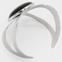 "2.60"" wide black silver cabochon cuff bracelet cuff bangle"