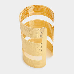 "4.25"" wide gold textured cage cuff bracelet bangle"