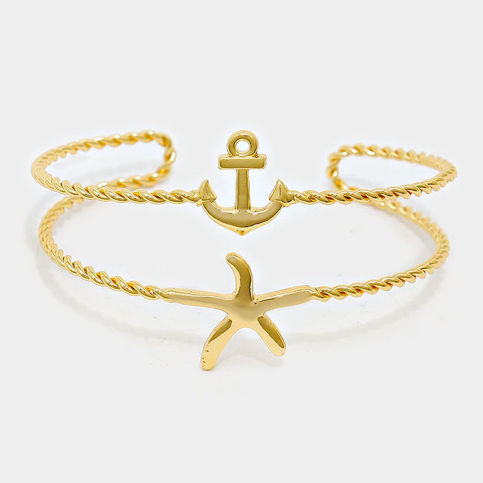 "1.50"" wide twisted starfish sea life anchor bracelet cuff bangle"