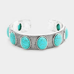 "7.50"" silver turquoise stone bracelet bangle open cuff boho .75"" wide"