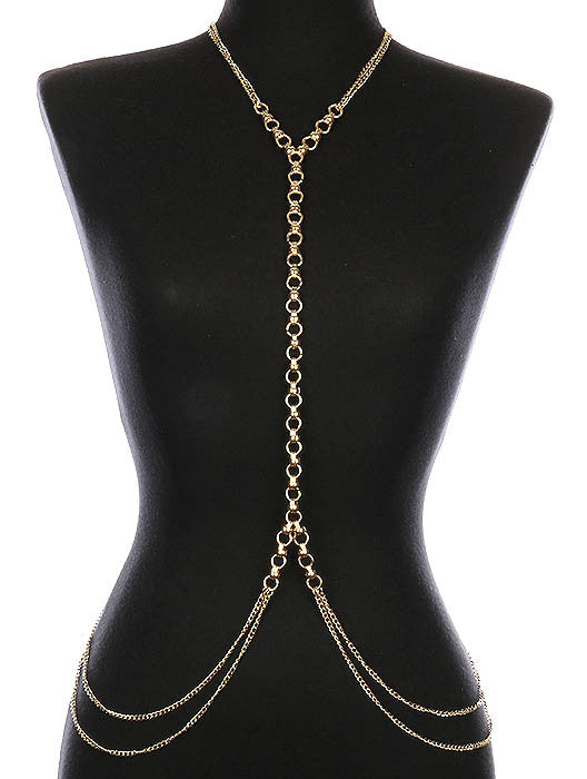 "18"" gold double link necklace swimsuit bra jewelry body chain armor"