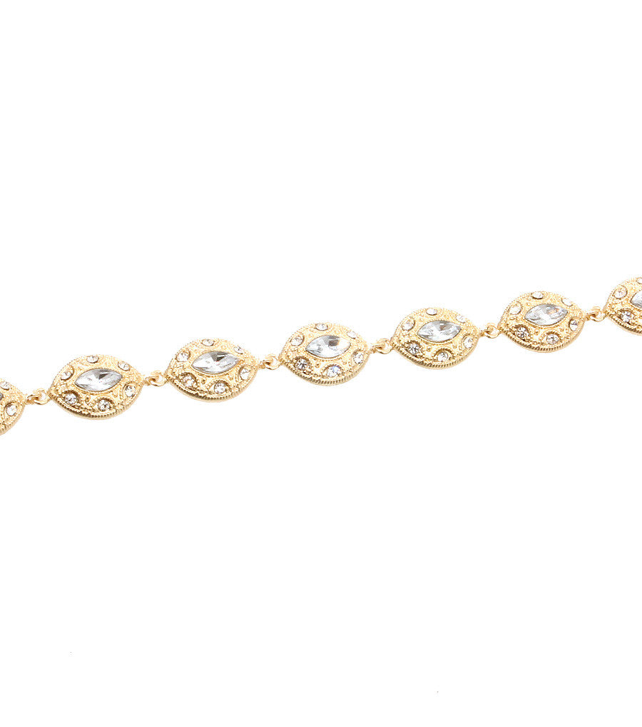 "15"" gold crystal collar choker necklace bridal prom pageant"