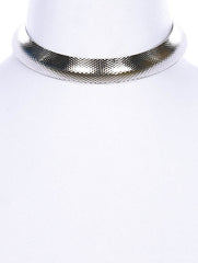 "12.50"" silver textured open cuff choker collar .65"" wide necklace"