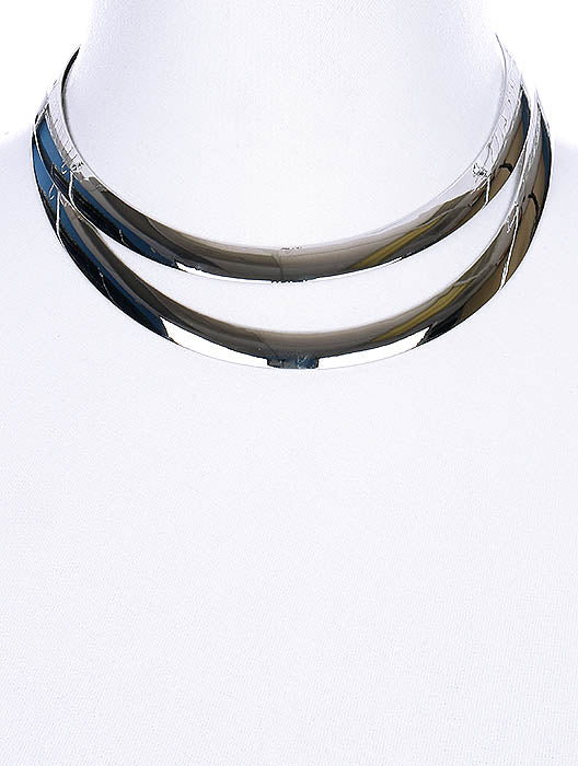"10"" silver double layered 1.25"" wide open cuff choker collar necklace"