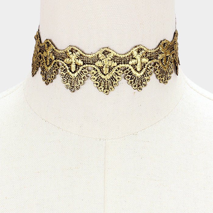 "11"" gold black reversible embroidered lace choker collar necklace 1.30"" wide"