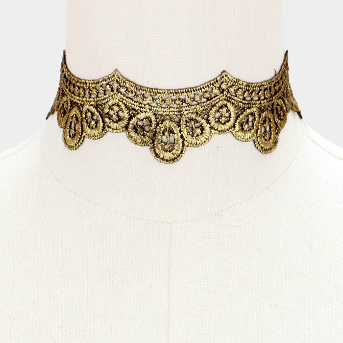"11"" reversible embroidered lace choker collar necklace 1.50"" wide"