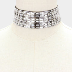 "12"" crystal bar collar choker Necklace 1.50"" wide"