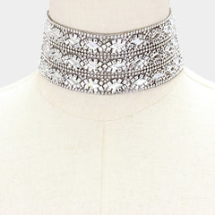 "12"" crystal collar choker Necklace 1.90"" wide"