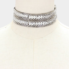 "12"" crystal collar choker Necklace 1.25"" wide"