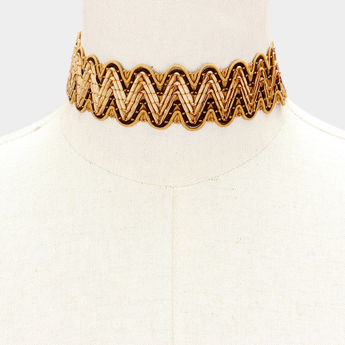 "13"" woven straw boho collar choker Necklace 1.25"" wide"