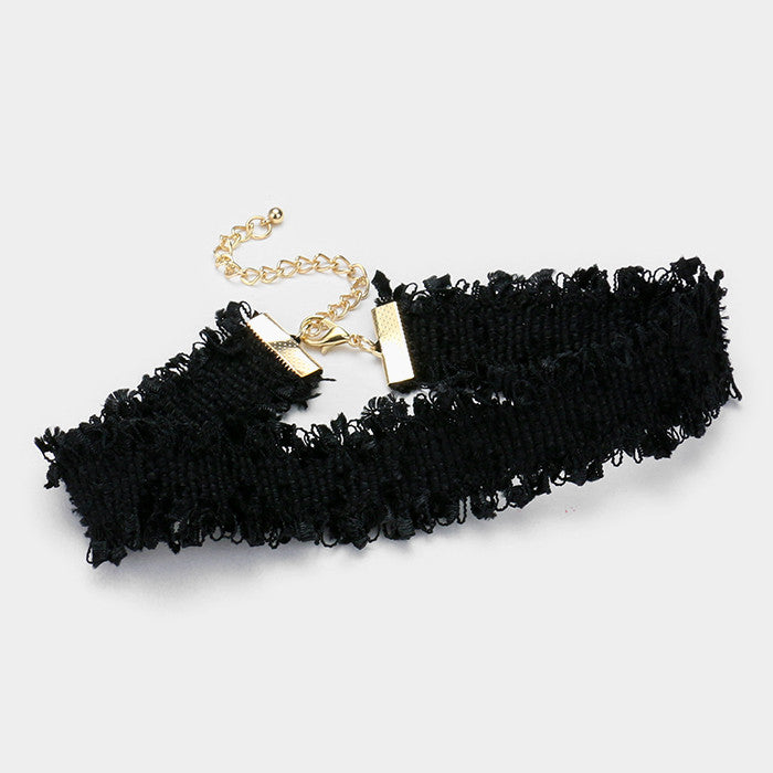 "12"" black frayed collar choker Necklace 1.20"" wide"