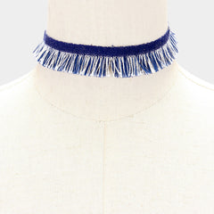 "13"" blue jean denim fringe frayed collar choker Necklace 1.50"" wide"