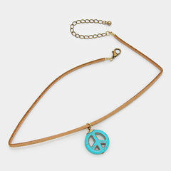 "13.50"" peace ""1 sign choker collar faux suede necklace boho turquoise"