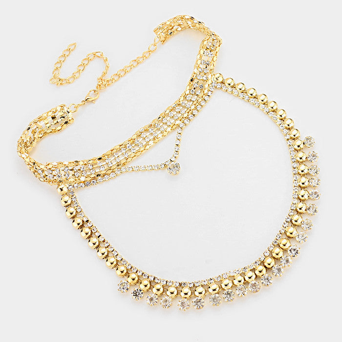 "12"" gold crystal layered choker collar necklace bridal prom .50"" wide"