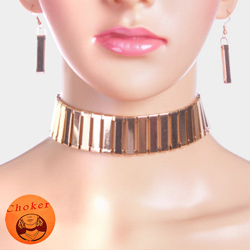 "13"" gold bar choker layered collar necklace 2"" earrings"