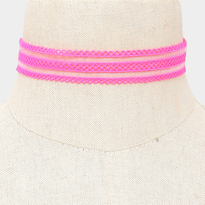 "13"" pink mesh stretch lace choker collar necklace .75"" wide"