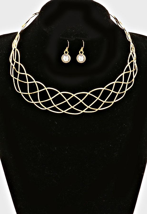 "16"" braided wire choker necklace 1"" earrings 1"" wide"