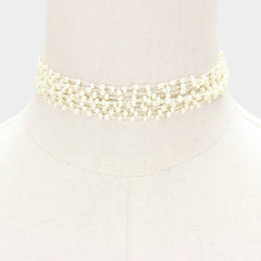 "12"" cream multi strand layered beaded choker collar necklace 1"" wide"