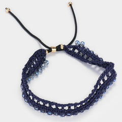 "adjustable blue bead crochet cinch choker collar necklace .75"" wide"
