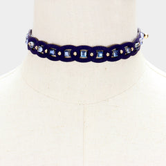 "12"" blue bead faux suede choker collar necklace .60"" wide"