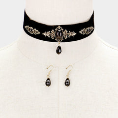 "12"" victorian gothic velvet collar necklace 1.25"" earrings statement 1"" wide"