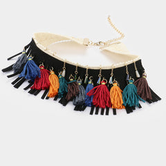 "12"" tassel fringe fabric faux suede choker collar Necklace 1.75"" earrings"