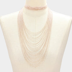 "12"" 12.50"" gold multi layered chain choker collar necklace 2 piece"