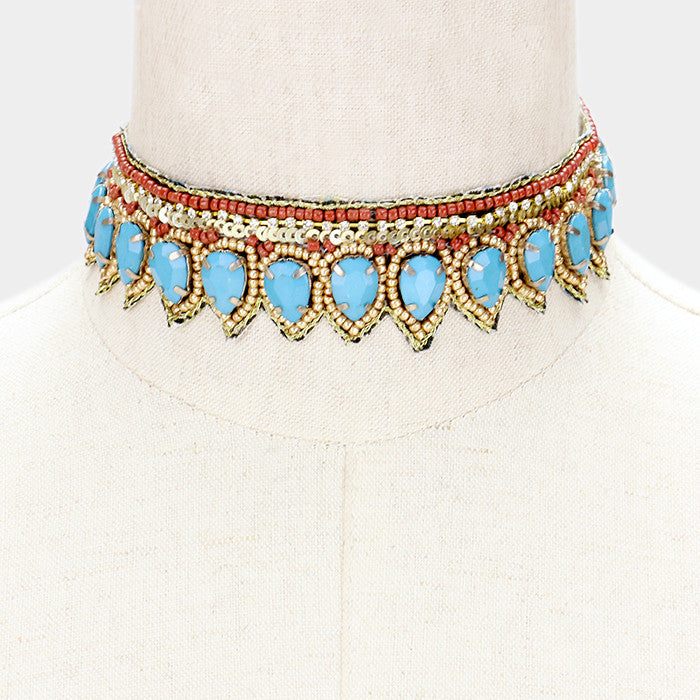 "12"" crystal teardrop stones collar choker bib necklace boho 1.30"" wide"