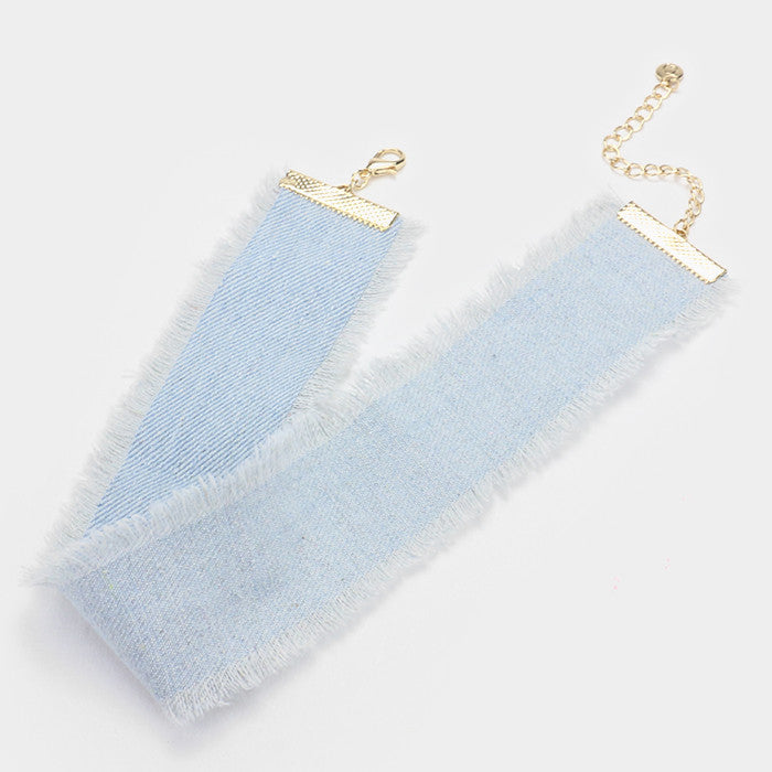 "12"" blue jean denim fringed choker necklace .50"" earrings 2"" wide"