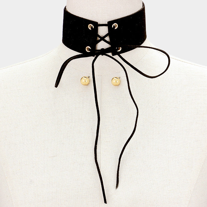 "12"" lace up tie faux suede choker collar bib necklace .50"" earrings 1.75"" wide"