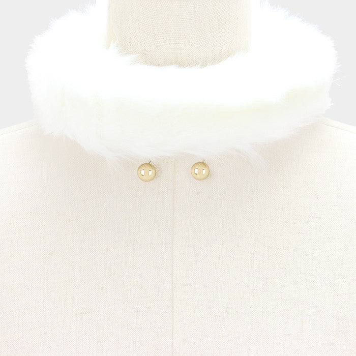 "16"" faux fur choker collar necklace .50"" earrings 2.50"" wide"