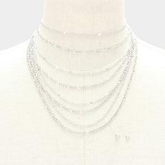 "13"" multi layered chain choker necklace .25"" earrings"